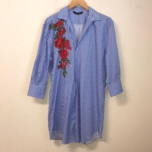 Zara Women Striped Flower Shirt Dress Tunic M